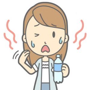 暑がる女性ストレートロング