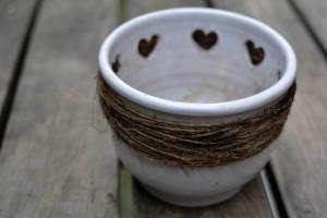 ハート模様の植木鉢