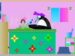 お風呂に浸かるペンギン親子