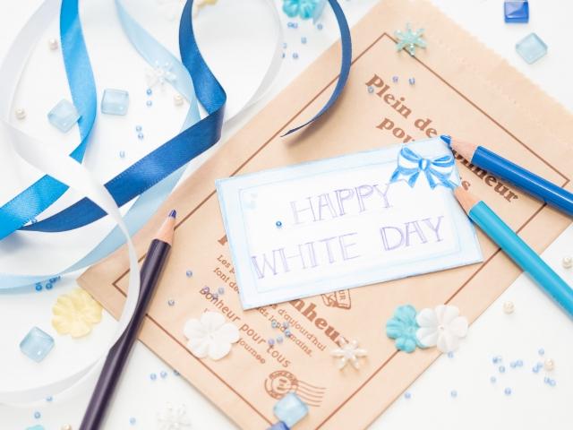 ホワイトデー 色鉛筆で書かれたカード