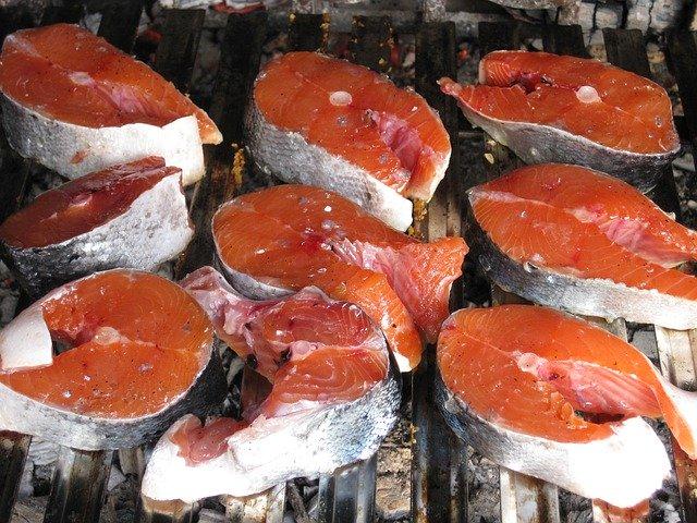 たくさんの鮭の切り身
